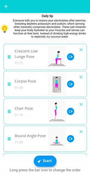 Screenshot of yoga app and it's sessions exercises