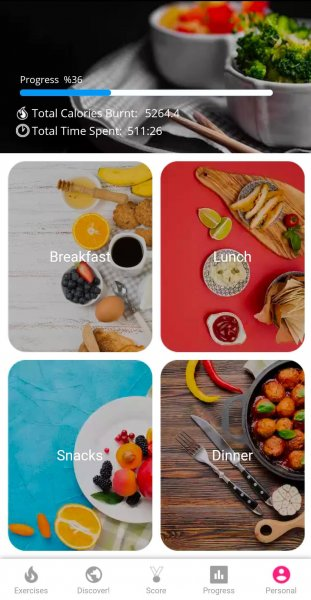 Screenshot of meal options suggested by the Yoga app