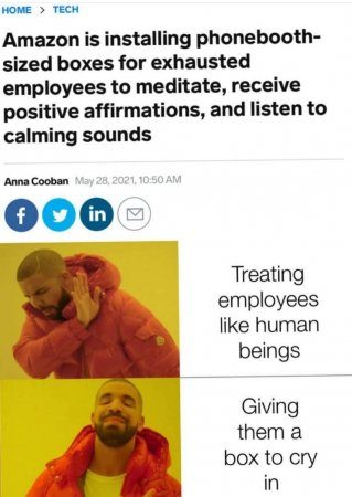 A meme of Amazon's AmaZen booths to represent the topic of the article - Weaponizing Mindfulness: Wellbeing In The Workplace