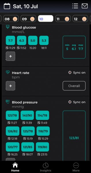 A screenshot of an example of my blood glucose and blood pressure test entries on the Bearable app