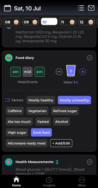 Screenshot of Bearable app showing the Food Diary to represent Curating Data: A Basic How To Organize Health Data With Bearable