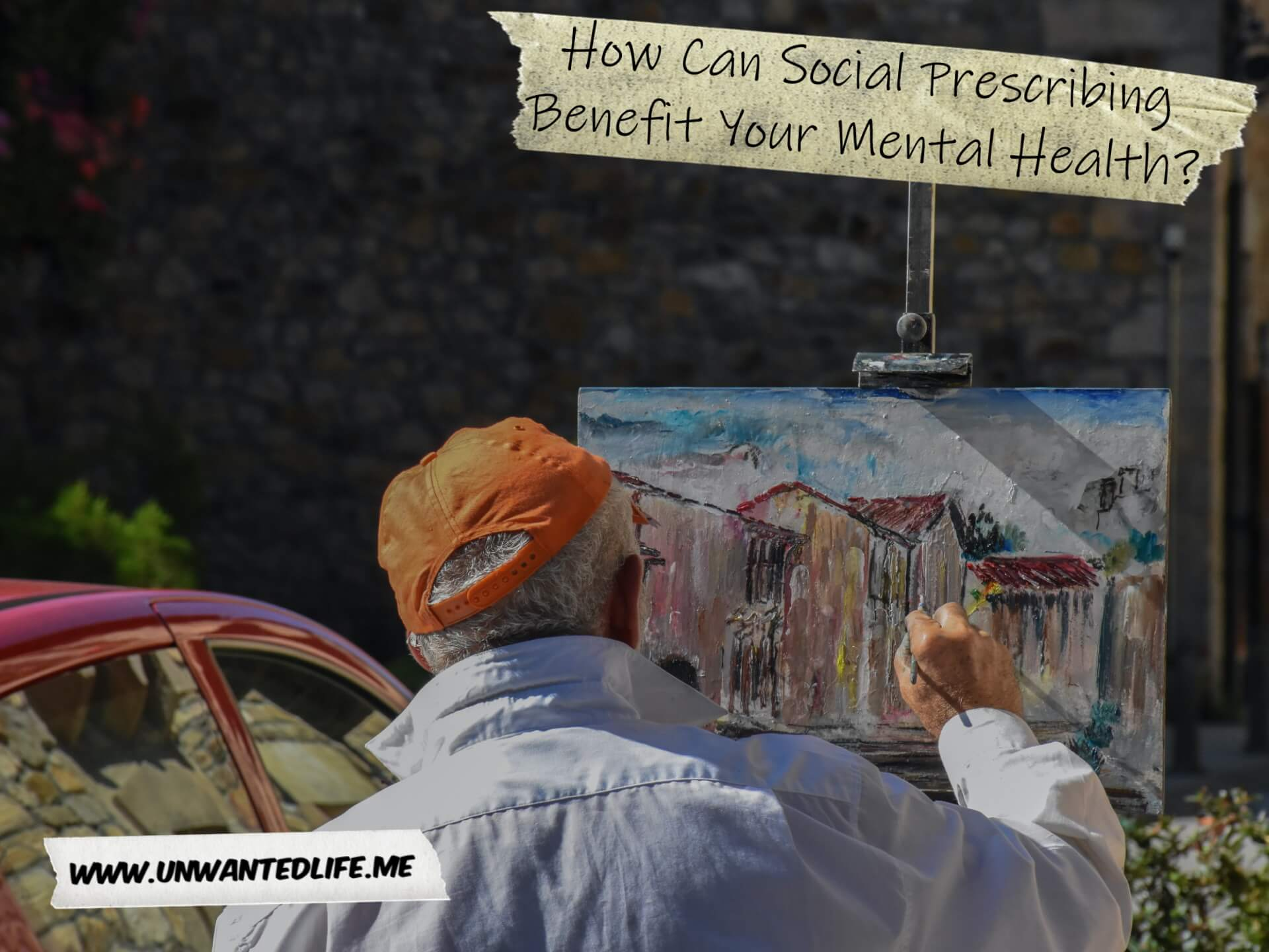 A photo of an elderly man painting landscape of a series of buildings to represent the topic of the article - How Can Social Prescribing Benefit Your Mental Health?