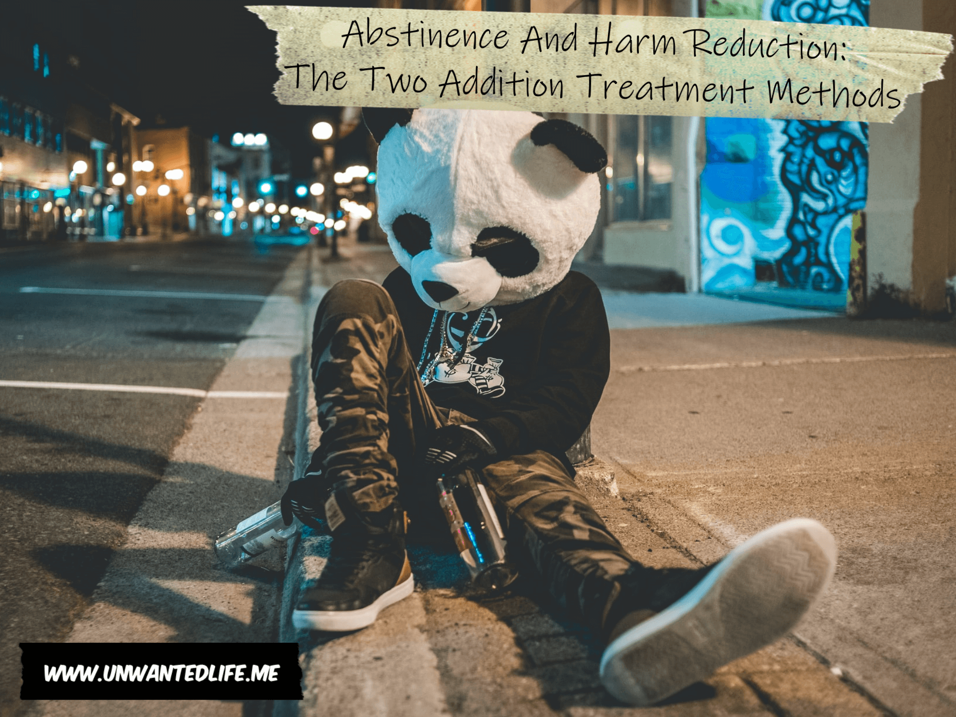 A photo of a person sitting at the side of the road holding to bottles of alcohol and wearing a furry panda head to represent the topic of the article - Abstinence And Harm Reduction: The Two Addition Treatment Methods